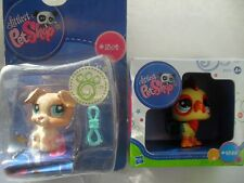 2 PCS LITTLEST PET SHOP SPARKLE ROOSTER 2358 & 1302 JACK RUSSELL  NEW