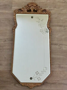 """Antique Gesso Craved Wood Etched Flowers & Berries Beveled Mirror Gold 33"""" Tall"""