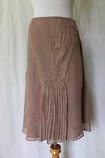 Walter Silk Skirt A-Line, Beige, Below the Knee, Pintuck Pleats, Size 0