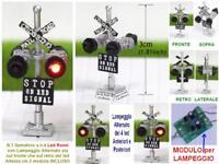 SEMAFORO BINARI SIGNAL mm.30 a 4 LED ROSSI + MODULO LAMPEGGIO ALTERNATO SCALA-N
