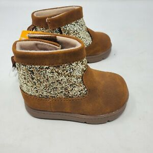 Carters Glitter Sparkle Gold Brown Baby Girls Size 3 Boots Slip On