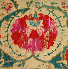 EARLY ANTIQUE UZBEK BUKHARA SUZANI SILK EMBROIDERY FRAGMENT
