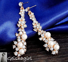 Gold Filled Faux Pearl Clear CZ Gem Drop Dangle Wedding Bride Prom Earrings UK