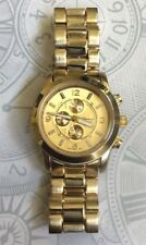 Geneva Women's Gold Watch Small Dial 3-D Linked Bracelet Designer Style New!