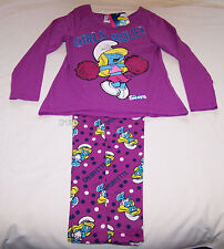 The Smurfs Smurfette Girls Purple Printed Cotton Flannel Pyjama Set Size 10 New