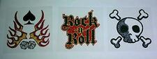 LOT 3 PCS SKULL CROSSBONE ROCK ROLL SPADE DICE 1 PK PIMP MY RIDE GLITTER STICKER