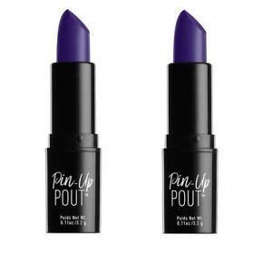 LOT 2 NYX Professional Pin-Up Pout CREAM Lipstick Wild Spirit DUSTY NAVY Purple