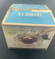 Vintage Federal Glass A-1 Jubilee Yorktown Punch Bowl Set Complete Original Box