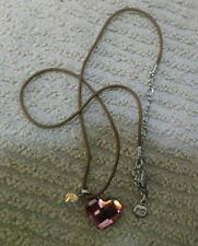 Swarovski Swan Signed Pink Crystal Heart & Mini Butterfly Necklace ~ Brown Cord