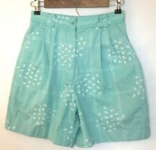 IZOD CLUB Womens High Waist Pleated Light Blue Shorts with White Floral Size 8