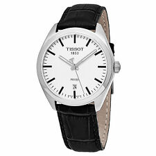 Tissot Men's PR100 Silver Dial Black Leather Strap Quartz Watch T1014101603100