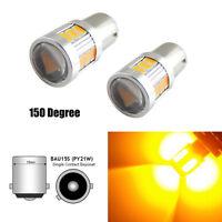 2pcs Turn Signal Lights Amber Yellow 18-SMD BAU15S 7507 LED Bulb New