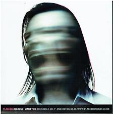 More details for placebo - because i want you - rare 2006 uk promotional advertising card slick
