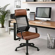 Yaheetech Executiveergonomic Office Chair High Back Leather Back Support Brown