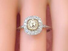 ART DECO .72ct CUSHION OLD MINE YELLOW DIAMOND HALO PLATINUM ENGAGEMENT RING
