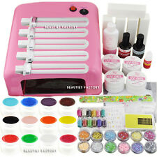 36W UV Gel Nail Art Curing Lamp & 12x Pure Solid Gel & 5x Polishing Buffer 993
