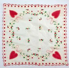 Vintage Red Hearts White Daisy Flower Scalloped Hand Painted Handkerchief