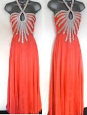 NEW EB Couture Coral Embellished Evening Occasion Prom Maxi Dress Size 10
