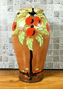 Crown Devon Retro Vintage Art Deco Hand Painted 22cm Cherry Tree Vase Stoke