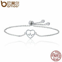 Bamoer .925 Sterling Silver Bracelet The ECG Of Love With CZ For Women Jewelry
