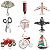 Pearl Crystal Rhinestone Plane Fan Enamel Brooch Pin Womens Fashion Jewellery