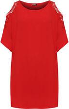 T-shirt, maglie e camicie da donna, taglia comoda rossi in poliestere