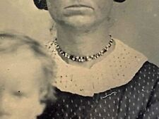 SAN FRANCISCO 1860 Settler 9th Plte TINTYPE Mother Native Indian Beaded Necklace