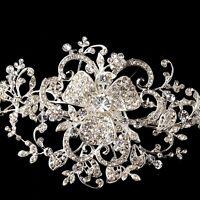 Silver Floral Rhinestone White Satin Ribbon Bridal Wedding Headband or Belt