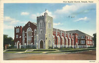 Linen Postcard AH B769 First Baptist Church Temple Texas Cancel 1944 Curteich