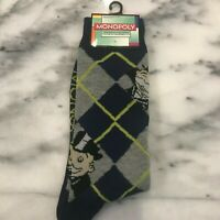 PLANET SOX Hasboro Monopoly Game Socks Blue/Gray Men's One Size Fun Gift NWT