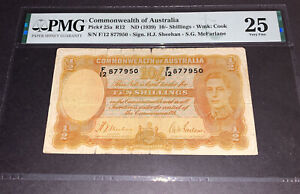 PMG Commonwealth of Australia 10 Shillings Banknote 1939 p25a VF25