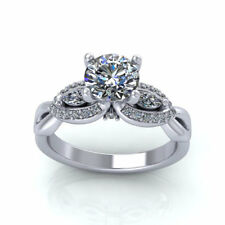 1.0Ct Round Off White Moissanite Art Deco Engagement Ring In 925 Sterling Silver