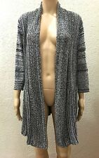 Belldini Black White Space Dye Weave Crochet Boho Cardigan Duster Sweater 1X
