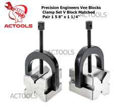 New Precision Engineers All Steel Vee Blocks Clamp Set V Block Matched Pair