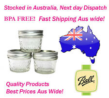 12 X 4oz BALL Mason Quilted Crystal Jars 120ml BPA