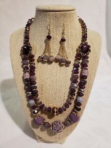 Beautiful Handmade Purple Rhinestone Crystal Faceted Beaded Necklace & Earrings