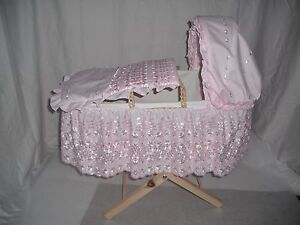NEW hand made dolls moses BASKET and STAND fits real life dolls pink lacy