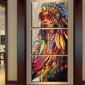 NATIVE AMERICAN INDIAN 3 PANEL CANVAS WALL ART  BRAND NEW