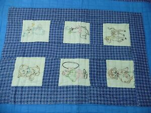 NEW VTG Handmade BLUE BABY QUILT Embroidered BLOCKS Panels animals QUILTED