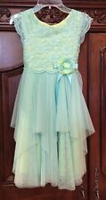 Girl's Size 8 Teal Green Lace Tulle Party Dress Jona Michelle