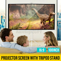 100inch 16:9/4:3 Portable Projector Screen Tripod Stand HD Home Outdoor Cinema