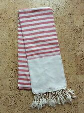 Krama Traditional Red Scarf With Fringe Woven Hand Cambodia 44