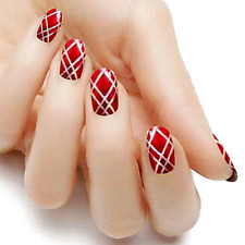 Christmas wrap red silver color real nail polish strips Kc313 street art wraps