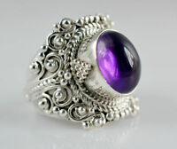 925 Silver Amethyst Women Wedding Fashion Gift Engagement Party Ring Size 6-10