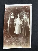 Vintage BW Real Photo #BU: Young Women Outside