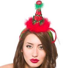 Christmas Mini Xmas Deluxe Santa's Elf Fancy Dress Hat Ladies Hat on Band New w