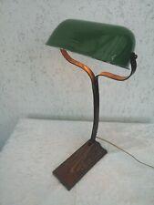 Art Deco Tischlampe  Lamp Frankreich Emaille Schirm   NIAM  Bankerlampe