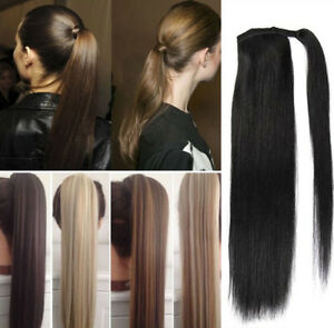 Real Human Hair Ponytail Remy Clip In Hair Extensions Wrap Silky Straight Hair