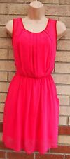 ASOS PINK RED TRIM FUCHSIA A LINE SKATER MINI FLARE TEA RARE DRESS 8 S