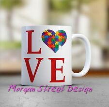 Autism LOVE Support Coffee Mug Cup. 11 oz. Dishwasher Safe